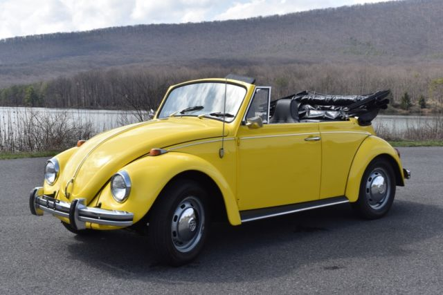 excellent 1968 classic volkswagen beetle convertible yellow restored for sale photos technical. Black Bedroom Furniture Sets. Home Design Ideas