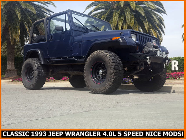 extra nice 1993 jeep wrangler 4 0 liter six cylinder 5 speed 2 tops nice mods for sale photos. Black Bedroom Furniture Sets. Home Design Ideas