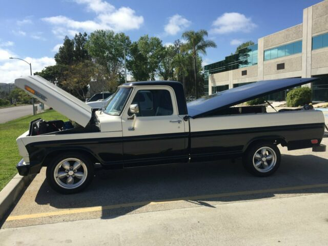 1968 Black-Sand Ford F-100 Long Wheel Base 2DR with Sand-Black interior