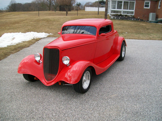 Ford 1933 3 window coupe street rod hot rod red hot red for 1933 3 window coupe for sale