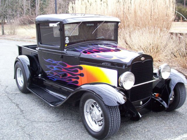 1931 Ford Model A Black w/Flames