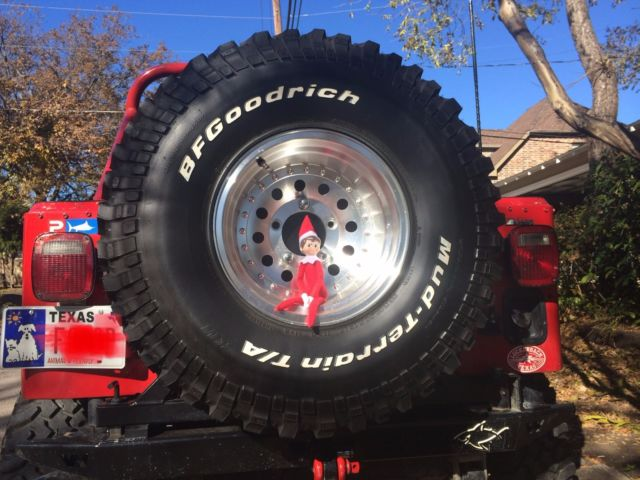 1984 Red Jeep CJ Convertible with Black interior