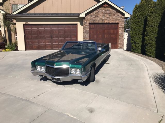 1970 Green Cadillac DeVille Convertible with Black interior