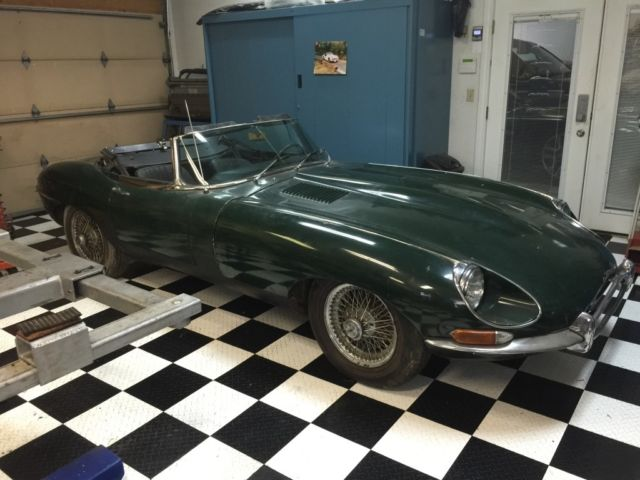 jaguar e type 1968 1 5 roadster british racing green matching numbers for sale photos. Black Bedroom Furniture Sets. Home Design Ideas