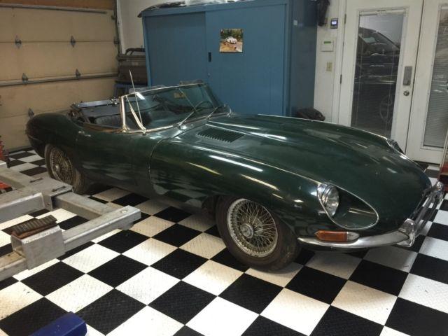 jaguar e type 1968 1 5 roadster british racing green matching numbers for sale photos. Black Bedroom Furniture Sets. Home Design Ideas