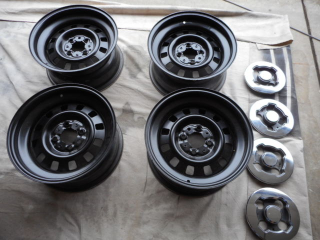Mustang 15 Inch 4 Bolt Foxbody Police Steel Wheels And Caps Very Rare For Sale Photos