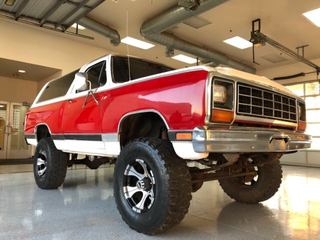 1984 RED Dodge Ramcharger RAMCHARGER MOPAR V8 4X4 LOW MILES RED AND WHITE SUV with RED interior