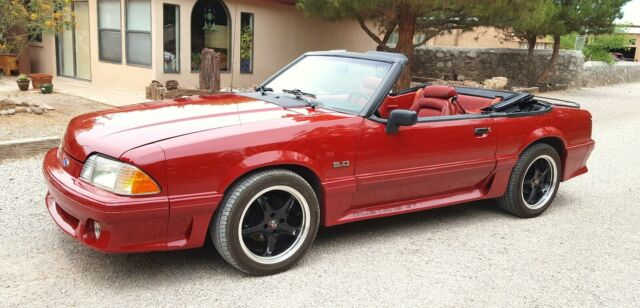 1991 Red Ford Mustang Convertible with Red interior