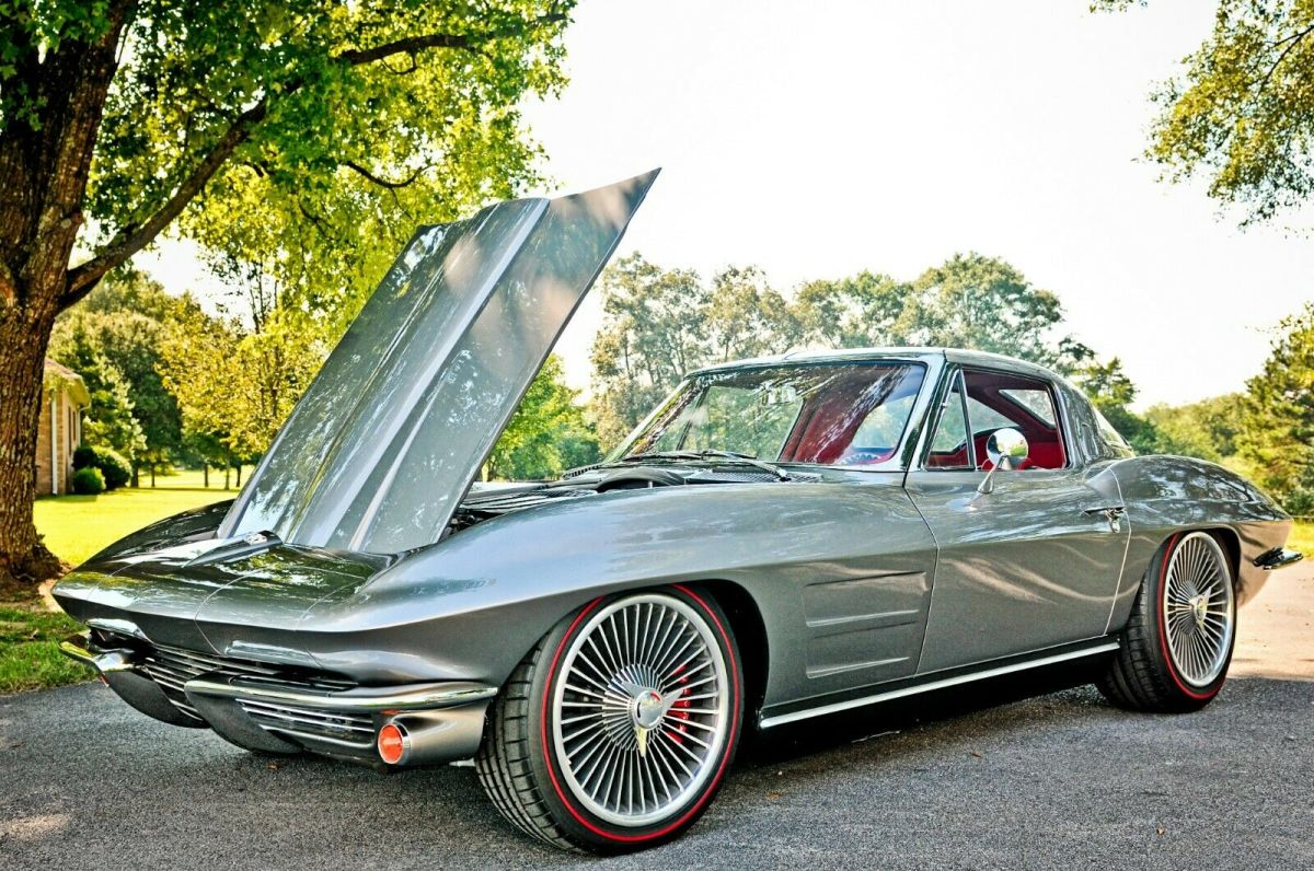 1963 Silver Chevrolet Corvette Split-Window with Red interior