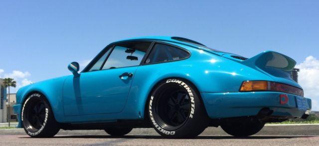 Porsche 911 Miami Blue Turbo Wide Body Lightweight Hot Rod 33l