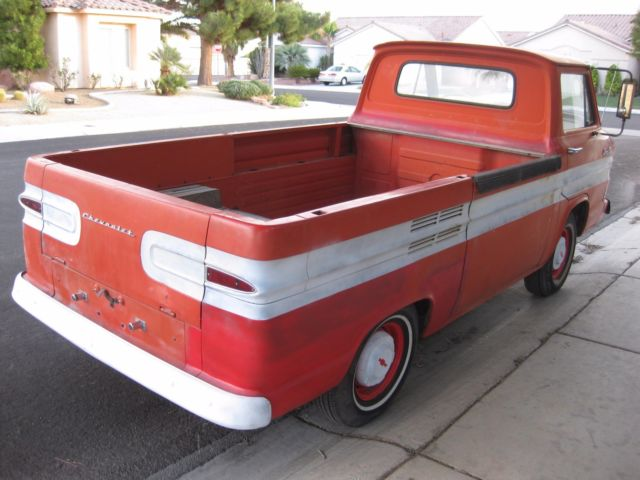 1963 Red Chevrolet Corvair Standard Cab Pickup with Tan interior