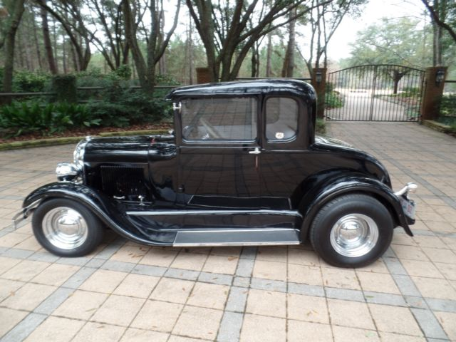 1929 Ford Model A UNCUT 5-WINDOW COUPE TUXEDO BLACK STREET ROD COUPE