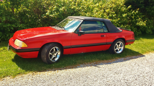 1990 RED Ford Mustang LX Convertible with RED interior