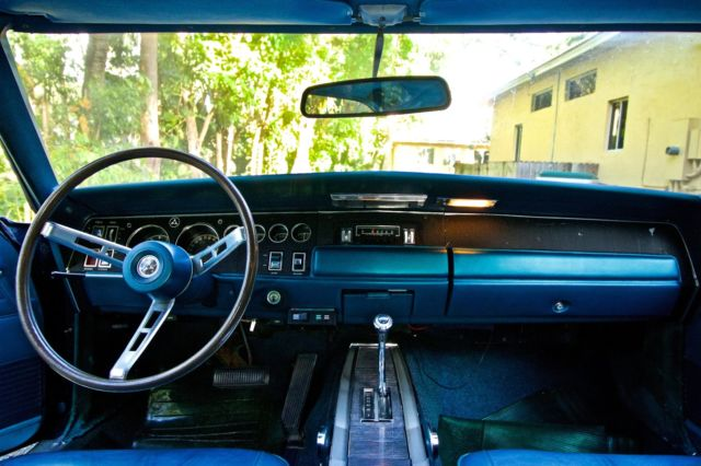 1968 Blue Dodge Charger Coupe with Blue interior
