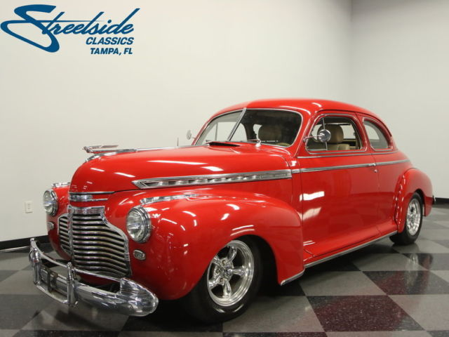 1941 Red Chevrolet Master Deluxe Sedan with Tan interior