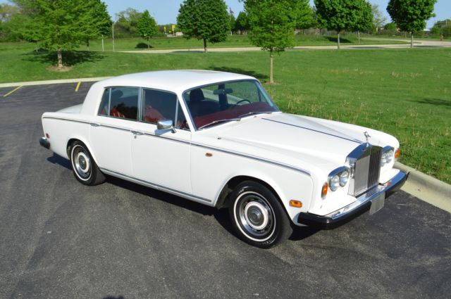 1980 Porcelain white (non-metallic) Rolls-Royce Silver Shadow II 4 door sedan with Burgundy Connolly leather interior interior
