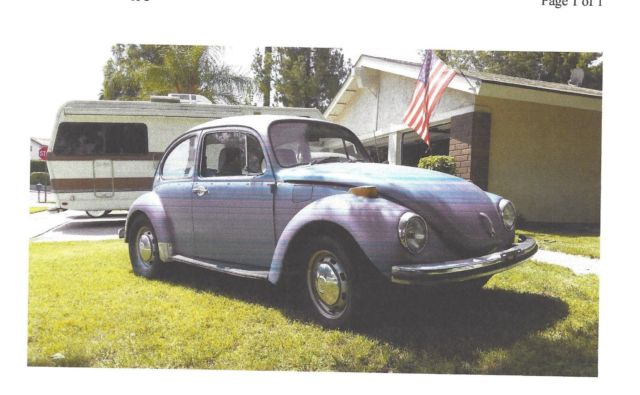 1972 Volkswagen Beetle - Classic Was sun roof, removed