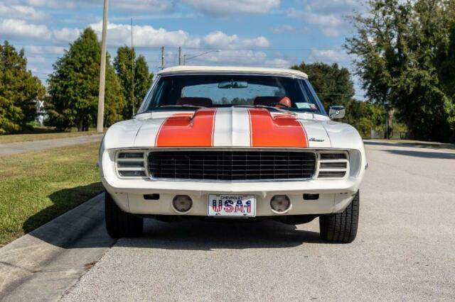 1969 White Chevrolet RS/SS Camaro Pace Car Convertible CV : Convertible with Orange interior