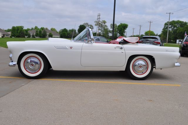 1955 White Ford Thunderbird Convertible with Red interior
