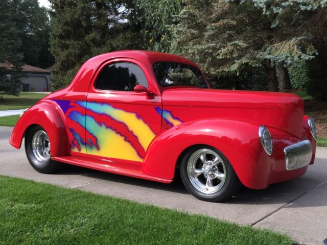 1941 Red Willys Americar Pro Street Coupe with Red and Black interior