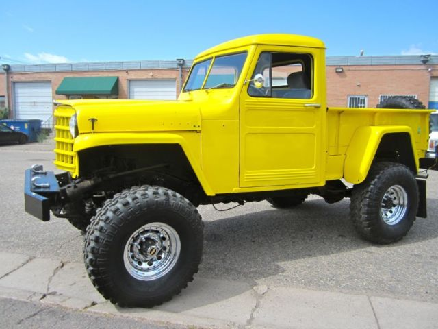 yellow 1953 jeep willys overland custom 4x4 pickup truck v8 305 no reserve for sale photos. Black Bedroom Furniture Sets. Home Design Ideas